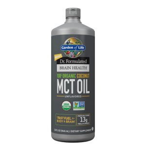 100% Organic Coconut MCT Oil in a gray bottle