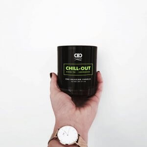Chill out candle held in someone's hand
